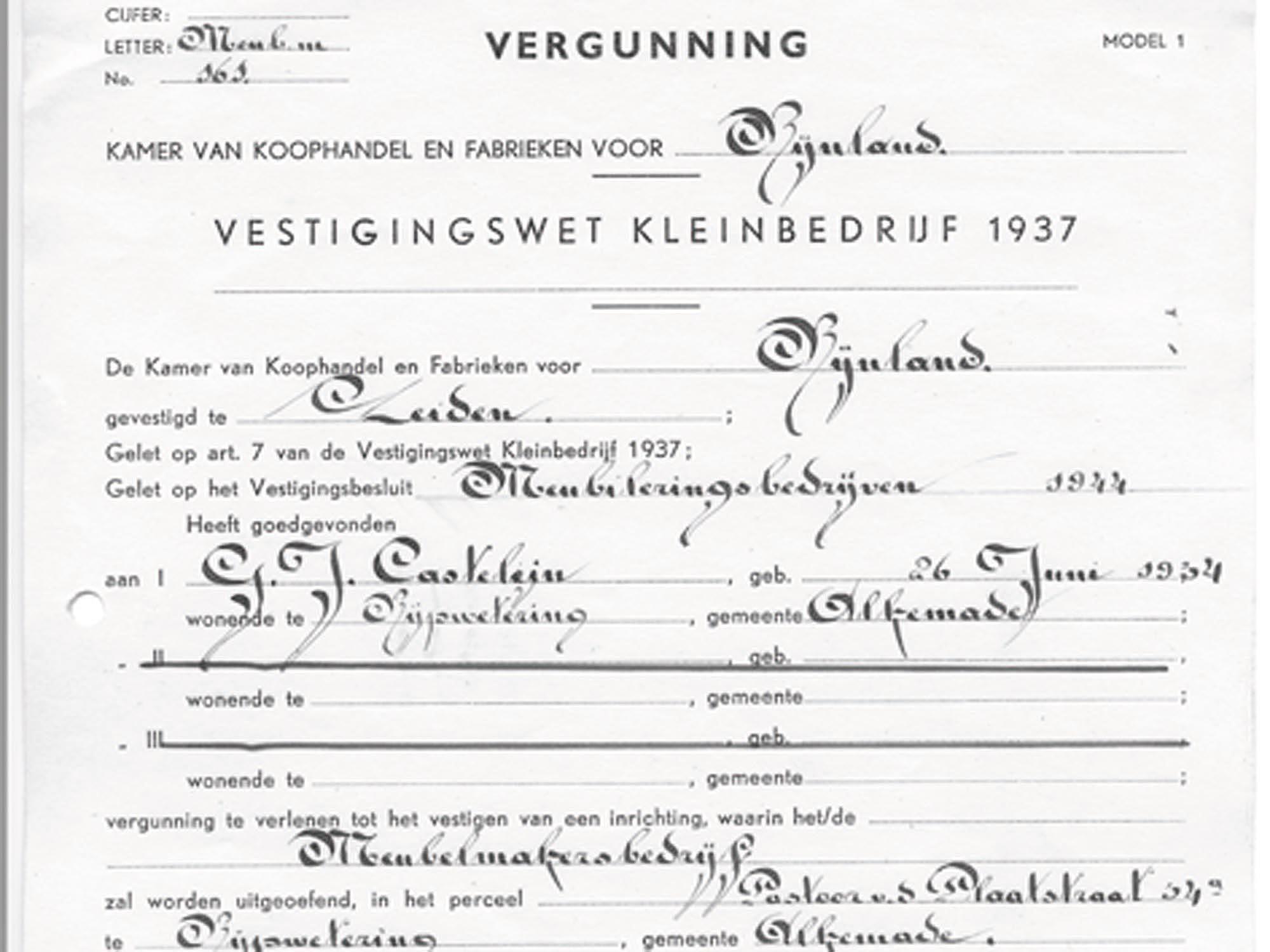 De start van Castelijn Meubelindustrie B.V.
